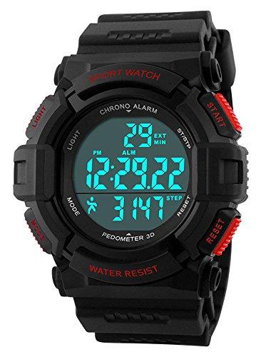 Gosasa Sports Waterproof Digital Fitness Watch Pedometer Multifunction Men's Wristwatches Red – DiZiSports Store