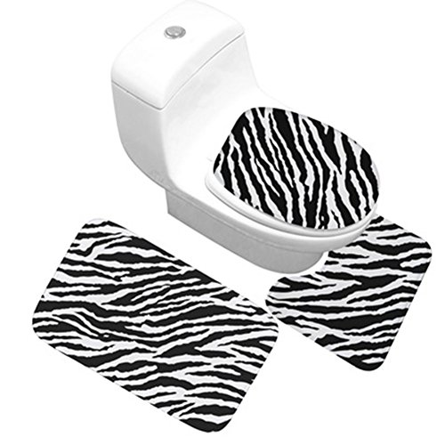 (Funif Set of 3 Non-slip Doormat Floor Water Absorbent and Anti Mildew Flannel Carpet Decorative Toilet Entry Rugs For Bath Room - Zebra-stripe 19.6