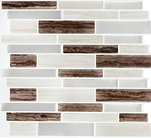 Peel and Impress - Easy DIY Peel and Stick Adhesive Backsplash Tiles, 24056 Long Brown Marble, Oblong, 11.25