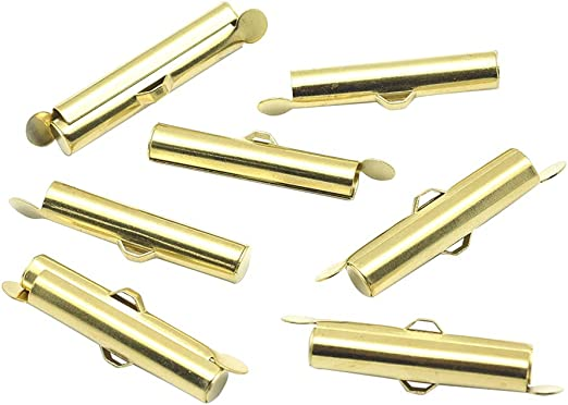13mm Pandahall 10pcs Brass Slide On End Clasp Tubes Slider End Caps Crimp End Tube for Round 11//0 or 8//0 Seed Beads Gold