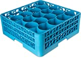 Carlisle RW20-114 OptiClean NeWave Polypropylene 20-Compartment Glass Rack with 2 Extenders, 19-3/4'' Length x 19-3/4'' Width x 7.12'' Height, Blue (Case of 3)