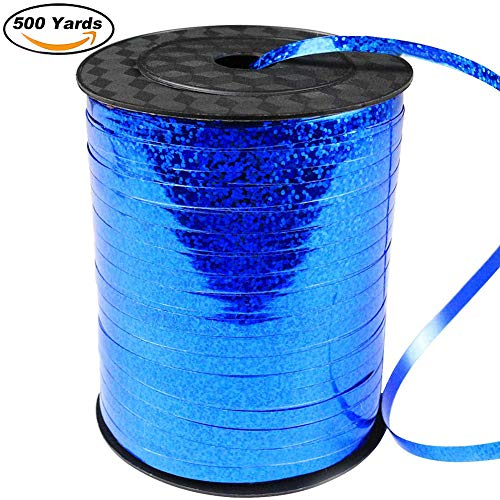 (500 Yard Balloon Curling Ribbon Crimped Ribbon Roll Balloons String for Party Wedding Festival Decoration Gift Wrapping etc (Laser)