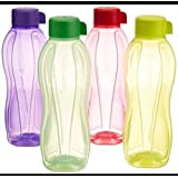 Tupperware Plastic Water Bottle Set, 1 Litre, Set of 4, Multicolour