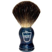 Parker Safety Razor 100% Black Badger Bristle Shaving Brush with Blue Wood Handle -- Brush Stand Included