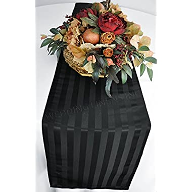 """Wedding Linens Inc. 12""""x 108"""" Striped Jacquard Polyester Table Runners / Damask Table Runner Linens for Restaurant Kitchen Dining Wedding Party Banquet Events - Black"""