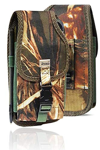 (Military Grade Camo Cell Phone Belt Pouch, Compatible w/iPhone Xs Max XR iPhone 8 Plus,7 Plus,6S+ 6 Plus, OnePlus 6T Rugged Canvas Holster Waist Carrying Bag Fits Phone with Waterproof/Thick Case)