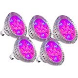 [Pack of 5] MarsHydro 24W LED Grow Light Bulb E26/E27 for Home Organic Bulbs RED and BLUE New Style for indoor small plants growing