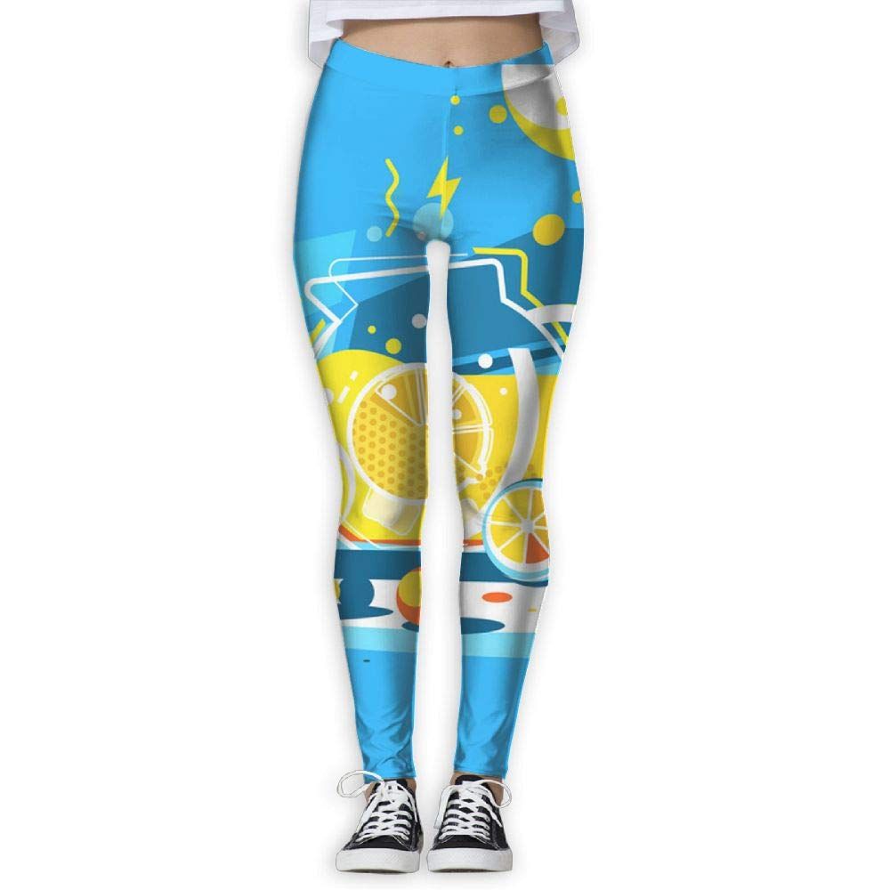 GIAHSO Running Workout Leggings with Designs - Cool Lemonade in Glass Jug Prints for Dkhh Storefront
