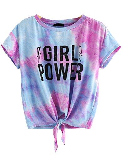 Girls Tie Dye - Romwe Women's Short Sleeve Tie Dye Front Knot Casual Loose Fit Tee T-Shirt Purple M