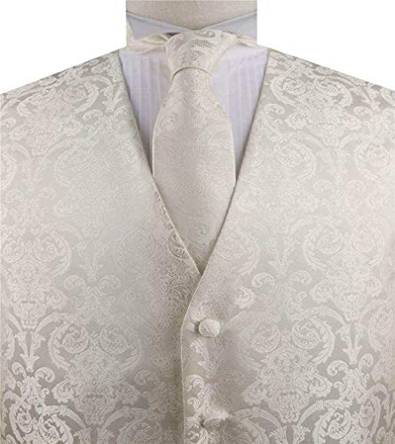 Men's Formal Microfiber Tuxedo Waistcoat with Necktie Set (Light Ivory, ()