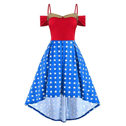 WILLBE Women's Sleeveless American Flag July 4th Flag Print Dress Vintage Dress Skirt High and Low Irregular Dress Blue