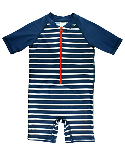 RuggedButts Baby/Toddler Boys Navy Stripe One Piece UPF 50+ Baby Rash Guard Swimsuit Romper - 12-18m