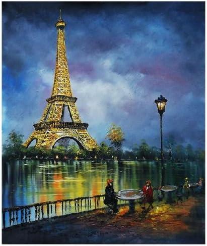 Representant Feu D Artifice Avec Tour Eiffel A Paris Tableau Peinture A Huile De Peinture A L Huile Amazon Fr Cuisine Maison