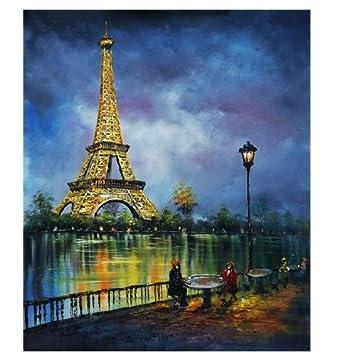 Representant Feu D Artifice Avec Tour Eiffel A Paris Tableau