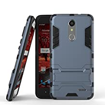 ZTE Grand X4 Hybrid Case DWaybox 2 in 1 Heavy Duty Armor Hard Back Cover Case with kickstand for ZTE Grand X 4 / ZTE Grand X4 Z956 5.5 Inch (Black Plus Gray)
