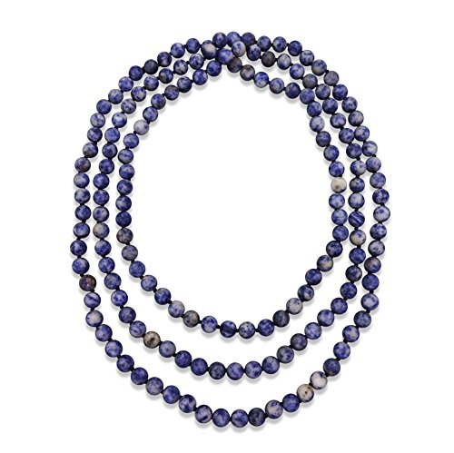 Necklace Denim Womens - MGR MY GEMS ROCK! 60 Inch Hand Knotted Sodalite Endless Infinity Necklace in Matte Finish
