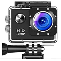TUSAZU Action Camera , 96FT Waterproof Sport Camera Full HD 1080P 2.0 Inch LCD Display 140 Degree Wide Angle Lens Sport Recorder Car Camera with Outdoor Accessories (black)