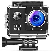 [Patrocinado] tusazu cámara de acción, 16MP 1080P HD Deportes impermeable Cam 2inch visualización LCD, 30m Submarino Videocámara DV con 10accesorios kits Negro