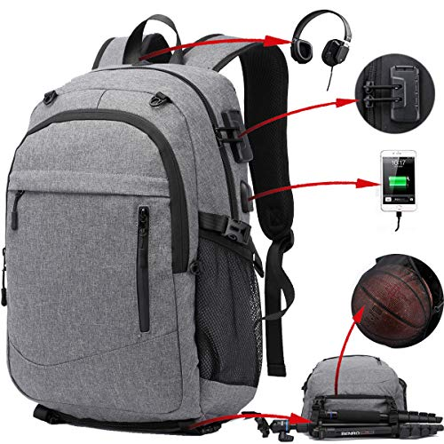17.3 inch Laptop Sports Backpack, Water Resistant Basketball Backpack Soccer Backpack with USB Charging Port/Lock/Headphone Jack, Anti Theft Travel Computer Backpack for Men Women