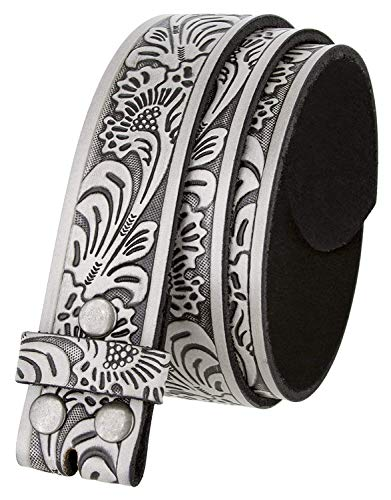 Western Tooled Leather Belt Strap w/Snaps for Interchangeable Buckles 1 1/2