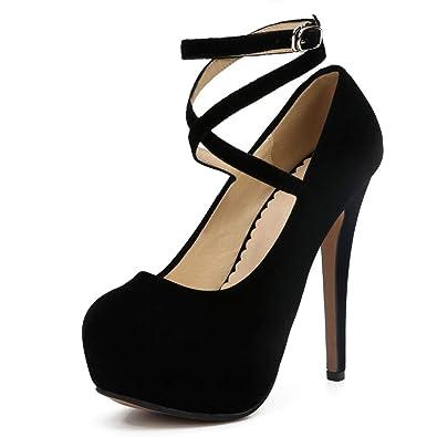 c7e1178d3c4 fereshte Women's Ankle Strap Platform High Heels Party Dress Pumps Shoes