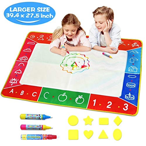 Water Doodle Mat - Large (39.4 x 27.5in) Aqua Magic Mat Kids Water Drawing Painting Pad with Water Pens & Stamps - Educational Toy&Toddler Gift for Girl Boy Age 1 2 3 4 5 6 7 8 9 10 11 12 Year Old