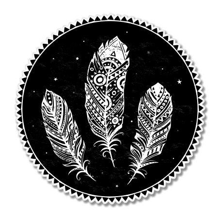 Feathers Tribal Design Circle Sticker