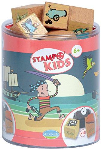 Aladine Stampominos Lote de sellos de madera y tampón para decorar diseño