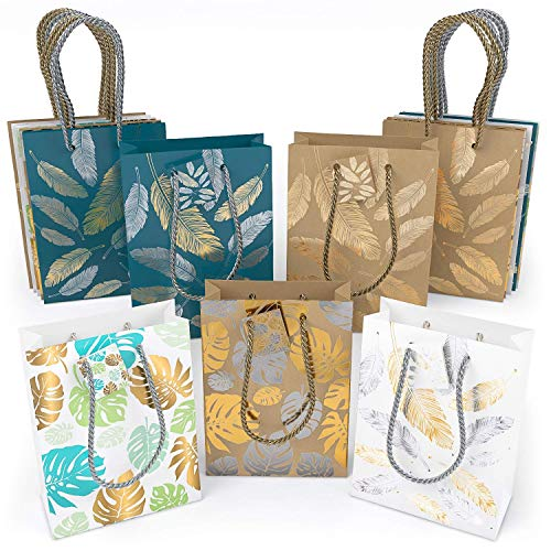 """ARTEZA Gift Bags 9.5""""x7""""x3.4"""", Set of 15pcs (5 Mixed Designs - 2 Kraft and 3 Colored Leaves and Feathers Pattern, 3pcs Each Design) Ideal For Graduations, Birthday Parties, Baby Showers, and Holidays!"""