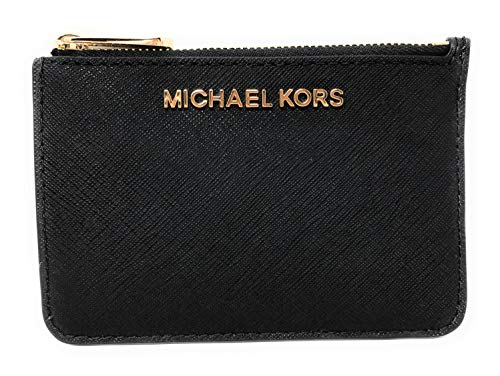 Michael Kors Jet Set Travel Small Top Zip Coin Pouch with ID Holder in Saffiano Leather (Black with Gold ()