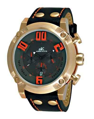 Adee Kaye #AK7280-MRG Men's Rose Gold Tone 3-D Pop Stainless Steel Leather Band Chronograph Watch (Chronograph Mens Watch Steel Kaye)
