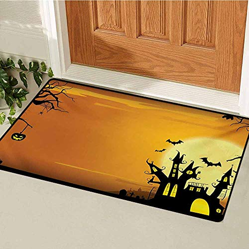 Halloween Inlet Outdoor Door mat Gothic Haunted House Bats Western Spooky Night Scene with Pumpkin Drawing Art Catch dust Snow and mud W29.5 x L39.4 Inch Orange Black