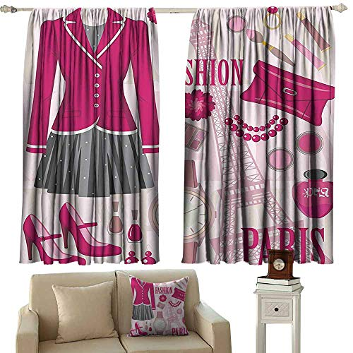 Girly Decor Exquisite Curtain Fashion Theme in Paris with Outfits Dress Watch Purse Perfume Parisienne Landmark Decor Suitable for Bedroom Living Room Study, etc.55 Wx45 L Pink Biege