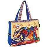 Laurel Burch Oversized Tote W/Zipper Top 21″X5-1/2″X15″ Dancing Horses, Bags Central