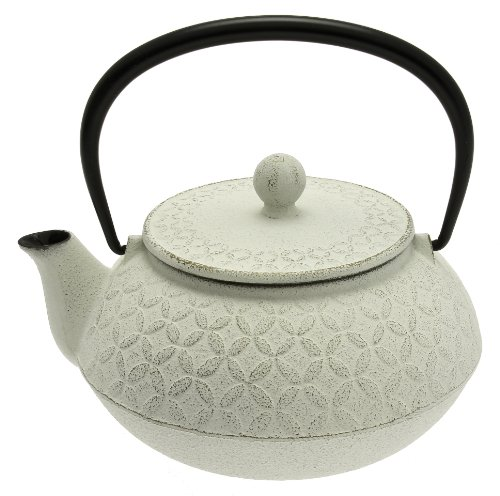 Iwachu Japanese Iron Tetsubin Teapot, Gold and White Seven Jewels Design (Warmer Tetsubin)