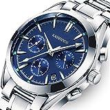 KASHIDUN Men's Watches Luxury Sports Business Quartz Wristwatches Waterproof Calendar Date Watch Navy Blue Color