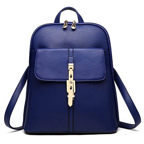 Mujer falso cuero mochila mochila mochila escuela bolsa de viaje de la oficina Azul