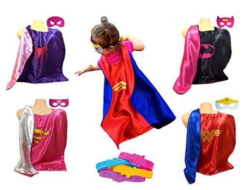 Super-Fun Cape and Mask Superhero Costumes for Toddlers, Kids & the Young-at-heart with BONUS Action Word Wristbands (12 piece set) (Superheroes Outfit)