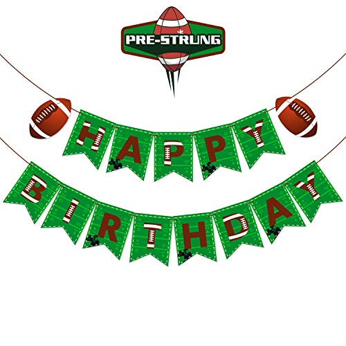 Football Themed Happy Birthday Banner Pre-strung Sports Themed