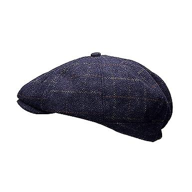 37a55cef Heritage Traditions Womens Men Wool Tweed Pane Peak Newsboy Cap Hat (Blue):  Amazon.co.uk: Clothing