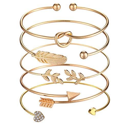 Softones 5pcs Bangle Gold Bracelets for Women Girls Heart|Olive Leaf|Arrow|Feather|Knot Heart Open Cuff Bracelet Set Adjustable