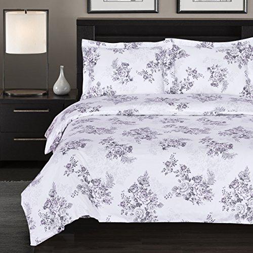 7-PCS California King size Bally Floral Print- includes 100% Cotton 4pc sheet set+ 100% Cotton 3pc Duvet cover set- 300TC single ply yarn (Single 300tc)