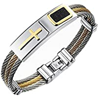 Reizteko Jewelry 3-Tone Mens Stainless Steel Twisted Cable Gold Plated Cross Bangle Bracelet (Silver)