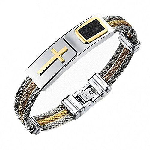 (Reizteko Jewelry 3-Tone Mens Stainless Steel Twisted Cable Gold Plated Cross Bangle Bracelet (Silver))
