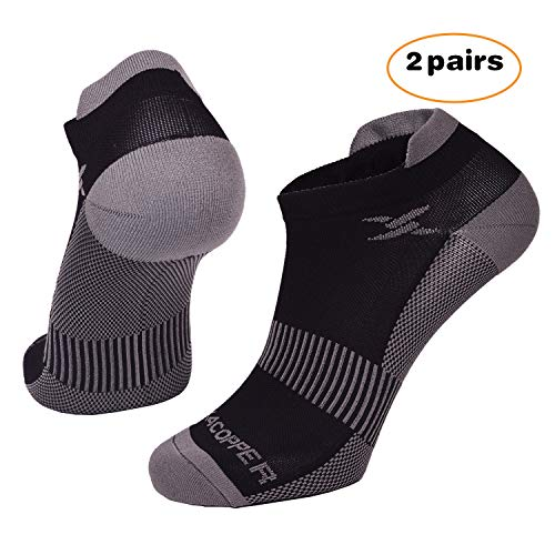 Thx4 Copper Compression Running Socks for Men and Women-Copper Infused No Show Cushion Socks for Hiking, Cycling, Athletic