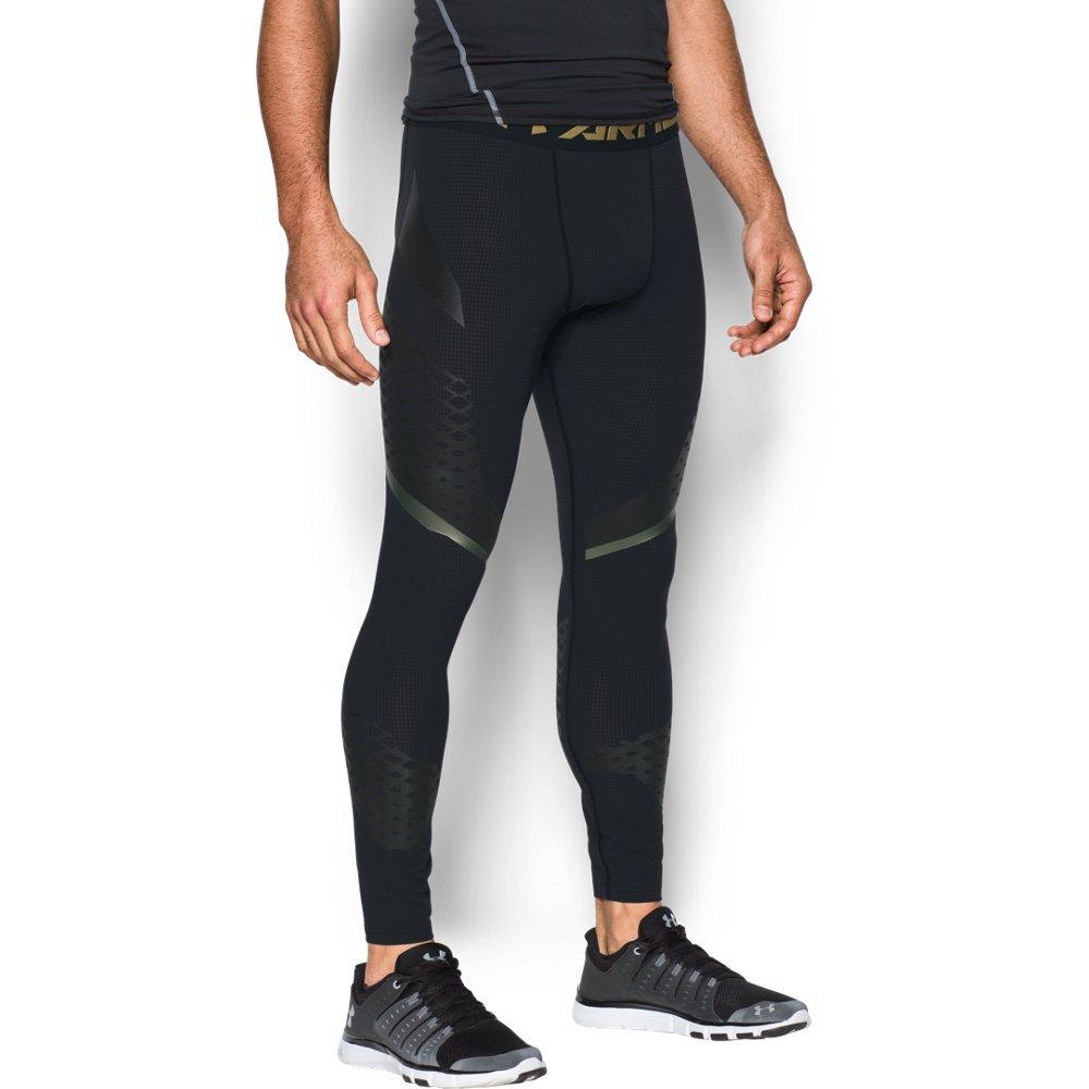 Under Armour Men's HeatGear Armour Zonal Compression Leggings, Black /Iridescent Foil, Small