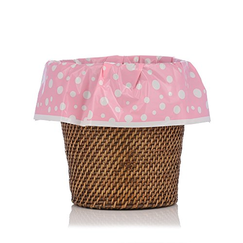 Pink Polka Dot Wastebasket - Designerliners Pink Polka Dot Plastic Waste Basket Trash Liner Bags - Great for Baby, Nursery, Child's Room, Bathroom, Kitchen. - Dress The Mess! - 12 Pack - 5-6 Gallons - 17.75 X 19