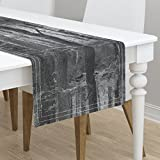 Table Runner - Trees Grove Forest Wood Birch Grey Black and White by Peacoquettedesigns - Cotton Sateen Table Runner 16 x 72