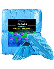 Shoe Covers Disposable Non Slip, squish 100 Pack (50 Pairs) Non Woven Fabric Boot Covers for Indoors Breathable Slip Resistant Durable Boot&Shoes Cover, One Size Fits All
