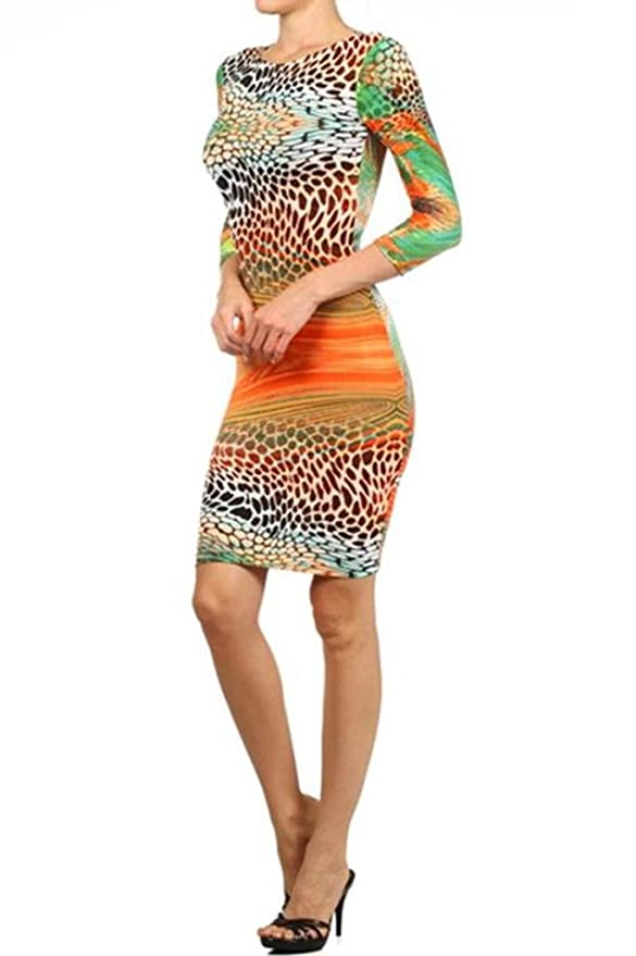 4c10255041 SurelyMine Womens Rainbow Animal Print Body-Con Dress With A Scoop Neck  Small Multi at Amazon Women s Clothing store